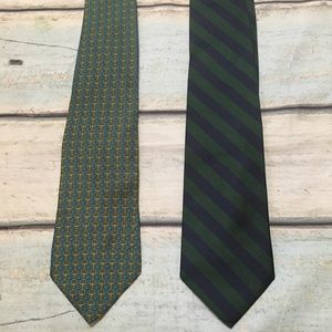 Brooks Brothers Makers Green Silk Neck Tie Bundle